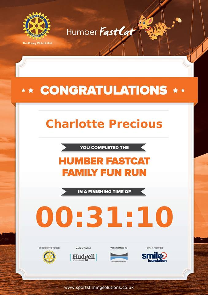 Humber Half Marathon Fun Run Finisher Certificate