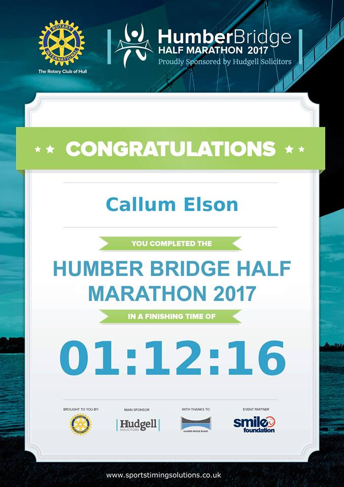 Humber Half Marathon Finisher Certificate