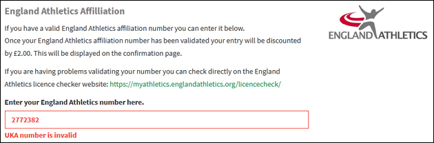 England Athletics Licence Checker Service